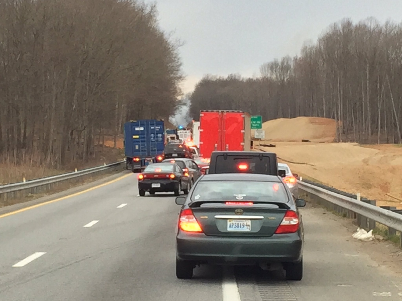 The vehicle fire shut down parts of Route 460 West (Photo: WSET)