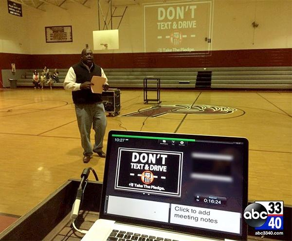 On Tuesday, May 13, 2014, ABC 33/40 reporter Isaiah Harper speaks to students at Phillips High School in Bear Creek, Ala. about the dangers of texting and driving.