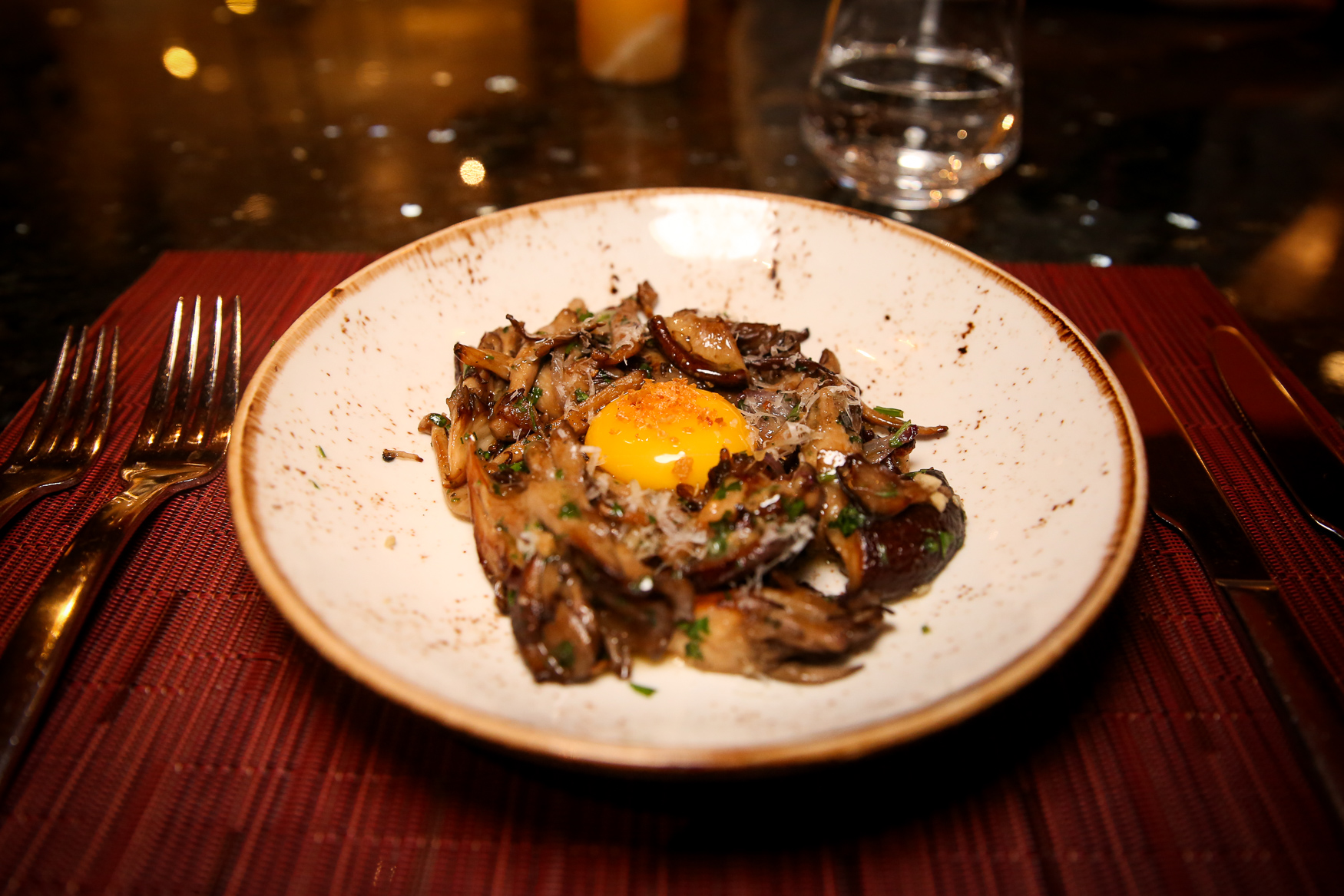 The favorite dish of the night was the mushroom cacio e pepe nesting an organic egg yolk, which was inspired by my love of vegetable dishes and pasta carbonara. (Image: Amanda Andrade-Rhoades/ DC Refined)