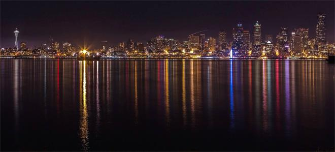 Seattle skyline from Alki Beach with Space Needle. Photo: Bob Noble Photography