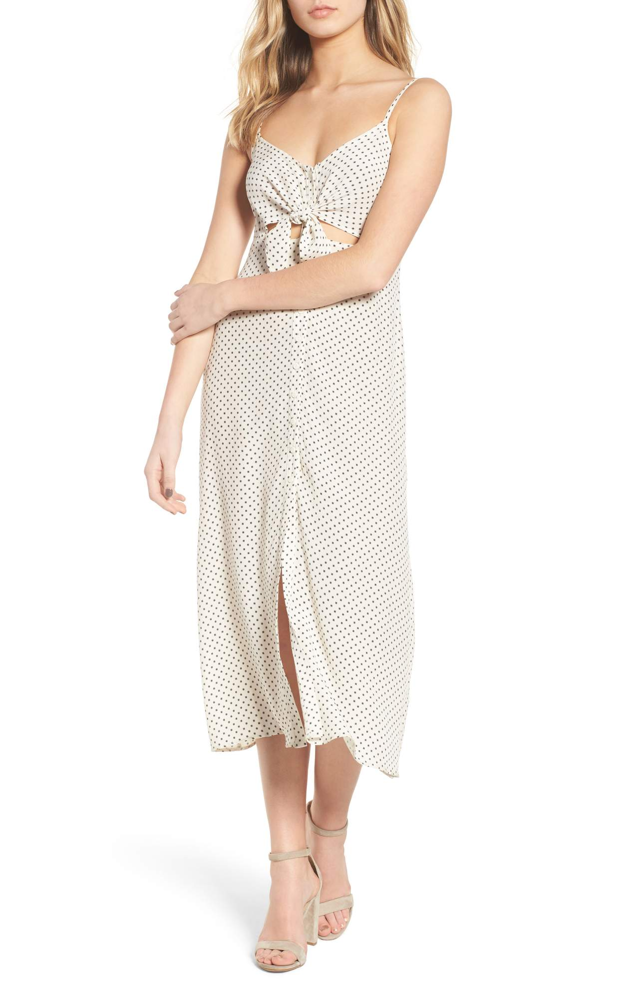 The Tie Front Midi Dress was originally $49 and is now $29.40. A simple button-front slipdress is remade for the season with a tied bodice, sleek cutouts and a peppy polka dot print.<p>(Image: Nordstrom)</p>