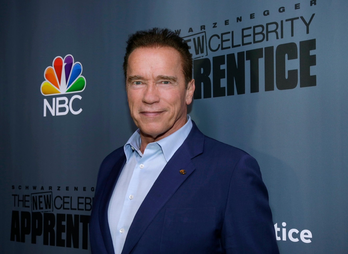"This Dec. 9, 2016 image released by NBC shows Arnold Schwarzenegger, the new boss of ""The New Celebrity Apprentice,"" at a press junket in Universal City, Calif. (Paul Drinkwater/NBC via AP)"