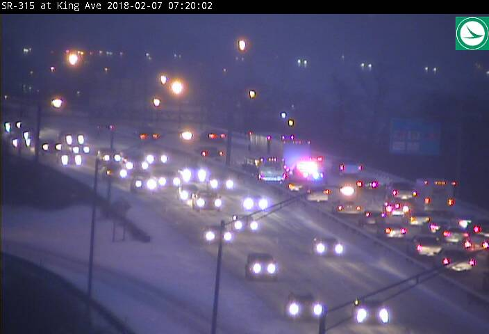 Heavy traffic on SR-315 northbound near Lane Avenue. (Courtesy: OHGO)