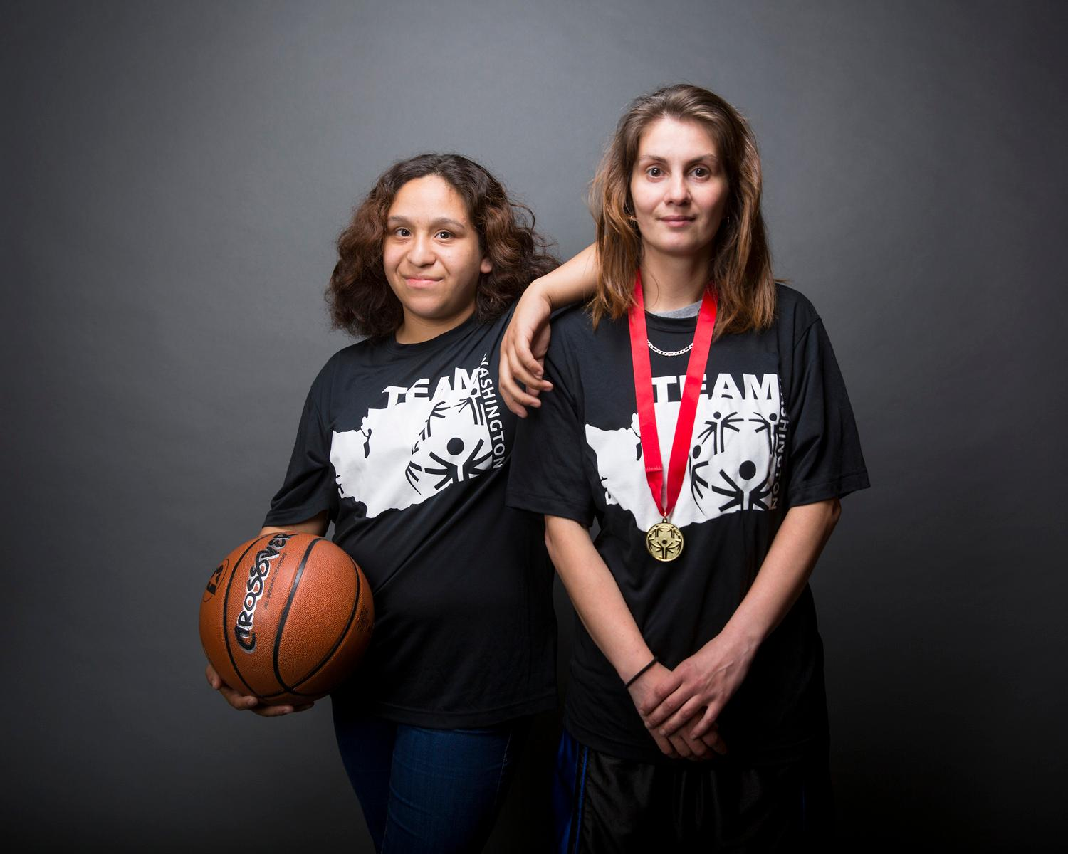 Introducing Melanie and Gina! The pair will be competing in basketball. The Special Olympics USA will take place in Seattle from July 1-6, with a grand opening ceremony and Parade of Athletes and the lighting of the Special Olympics Flame of Hope. (Sy Bean / Seattle Refined)