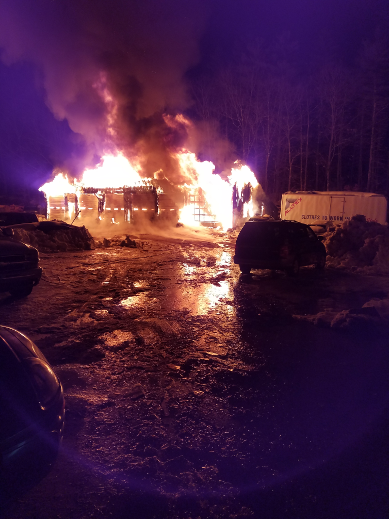 Early Sunday morning, an auto repair garage in Windham was destroyed when the building caught fire. (Windham Fire Department)