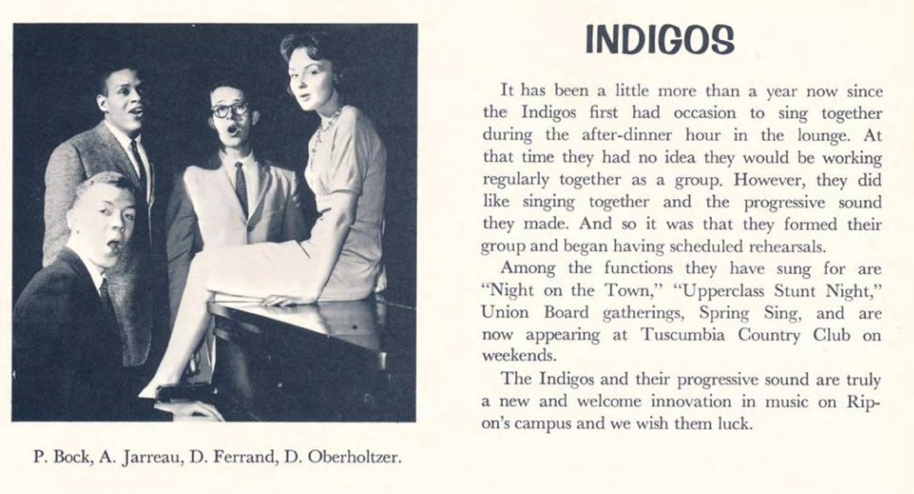 "Al Jarreau's singing group, the Indigos, is pictured in Ripon College's 1961 ""Crimson"" yearbook. (Photo courtesy Ripon College)"