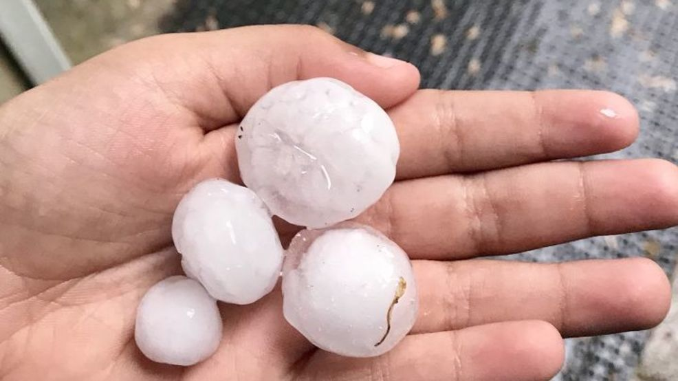 Large hail cascades over Calhoun County damaging property