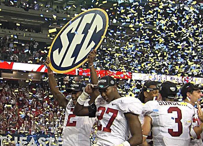 Alabama celebrates winning the SEC Championship over Georgia in the Georgia Dome on Saturday. (abc3340.com)