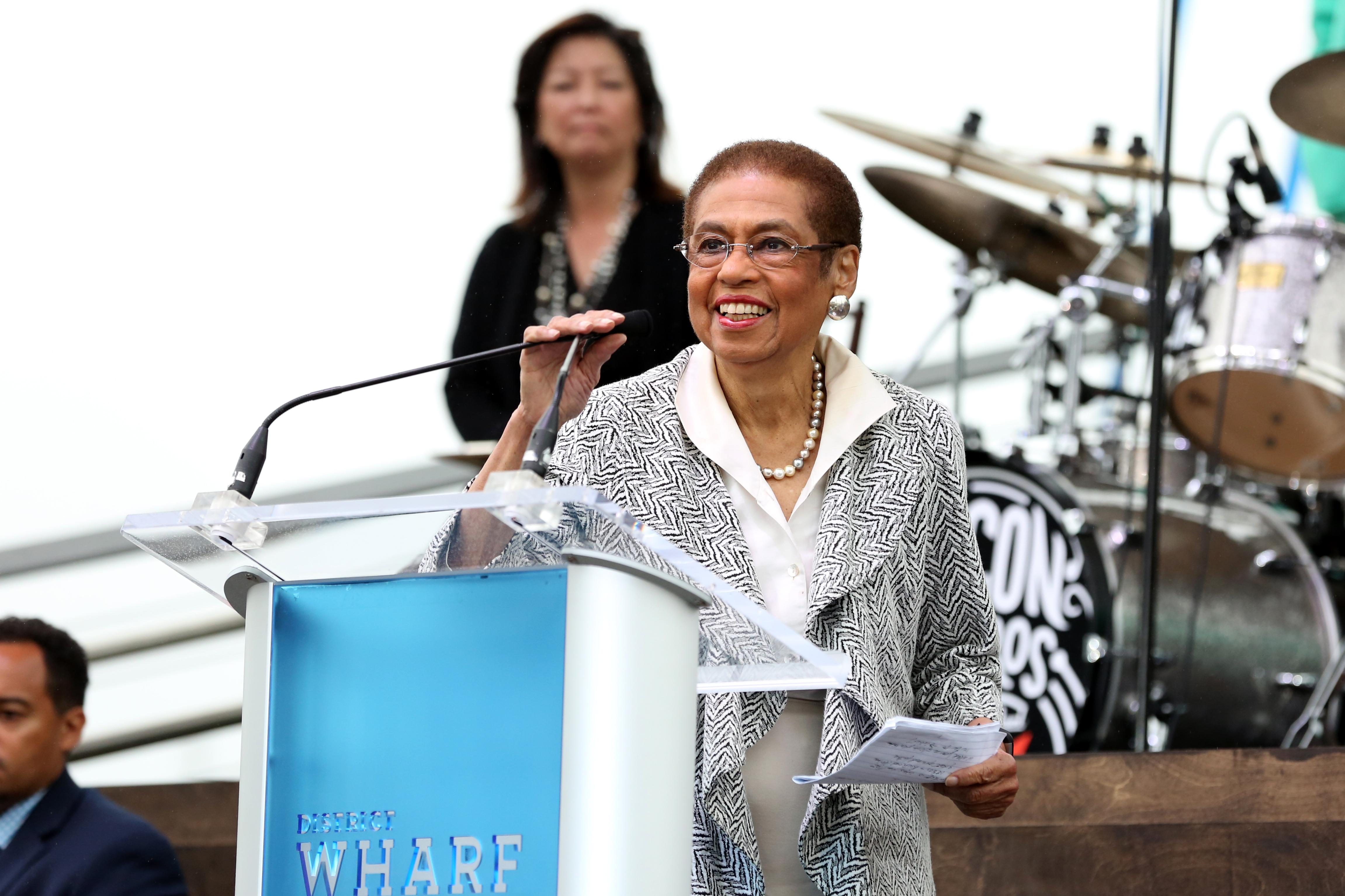 Senator Eleanor Holmes Norton speaks at The Wharf's opening. (Amanda Andrade-Rhoades/DC Refined)<p></p>
