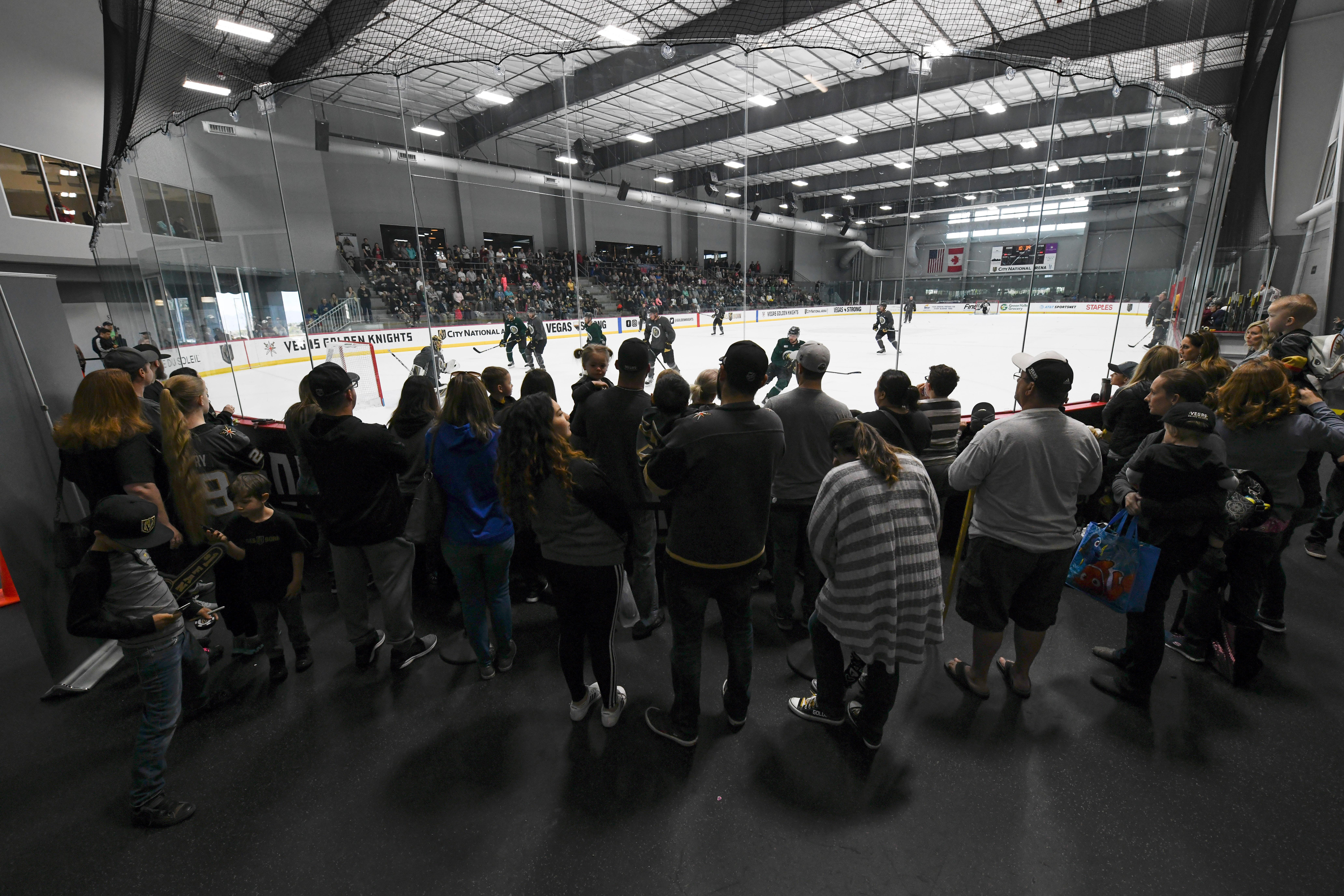 Fans watch the action during the Vegas Golden Knights practice Friday, April 20, 2018, at City National Arena in Las Vegas. CREDIT: Sam Morris/Las Vegas News Bureau