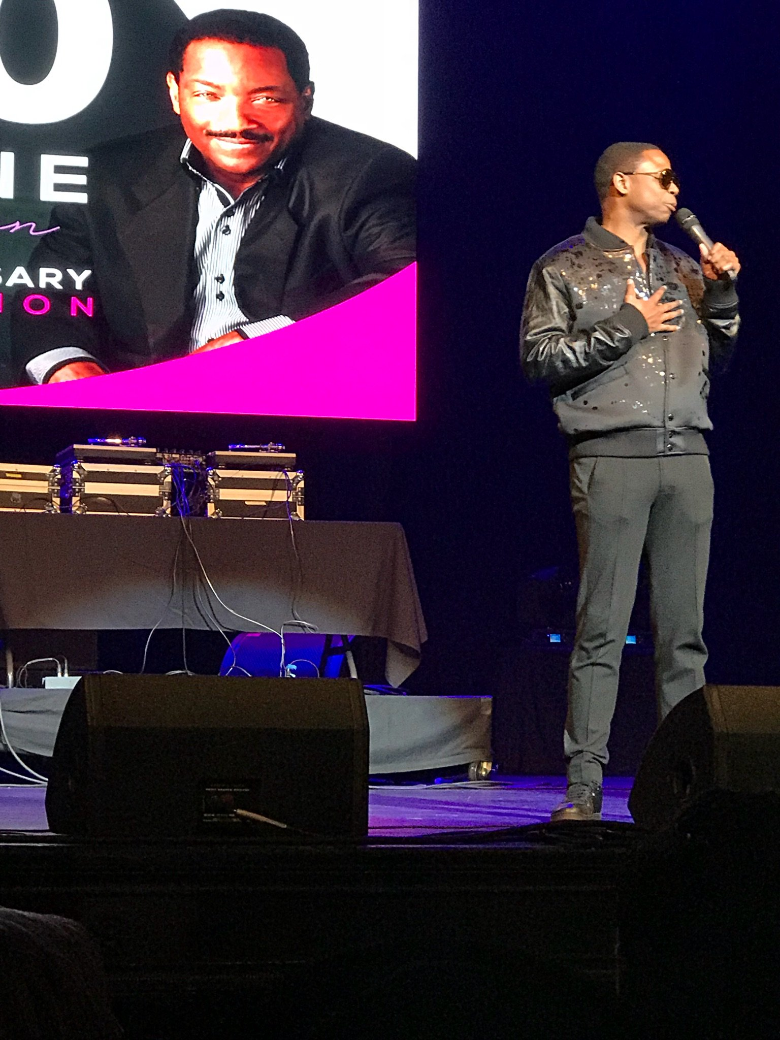Rapper Doug E Fresh performs at the Donnie Simpson 40 year anniversary celebration, Sunday, Oct. 22, 2017 (Julie Wright/ABC7){&amp;nbsp;}<p></p>