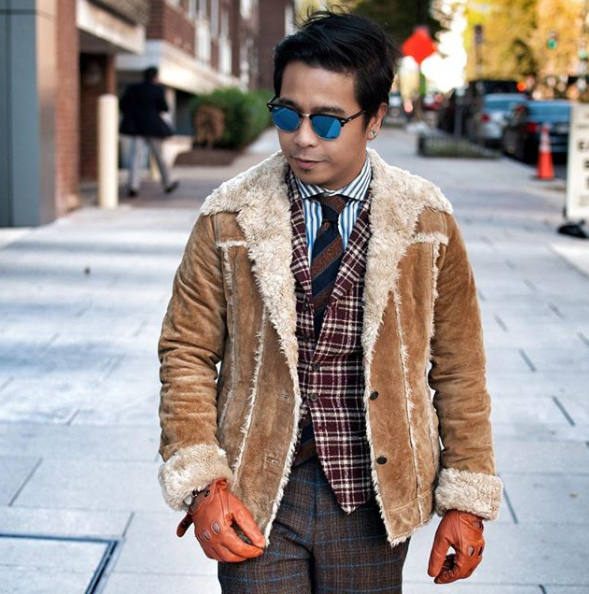 Ok, the pattern mixing is off the charts{&amp;nbsp;} here and we love it! The details really make the look here, and that shearling coat is incredible! (Image: Courtesy IG user @dvpperlion/ www.instagram.com/dvpperlion/)<p></p>