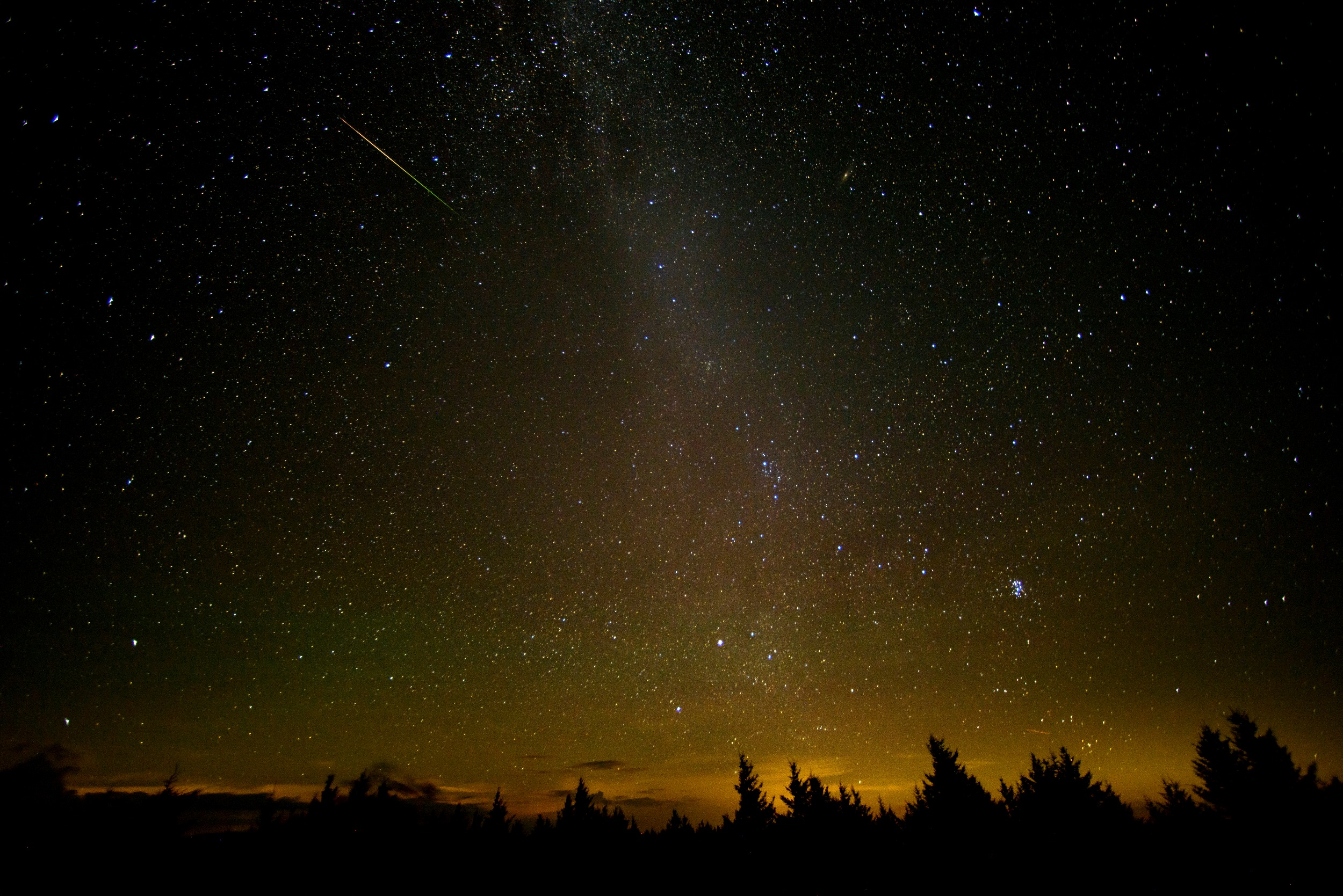 In this 30-second exposure, a meteor streaks across the sky during the annual Perseid meteor shower Friday, Aug. 12, 2016 in Spruce Knob, West Virginia. (NASA/Bill Ingalls photo)