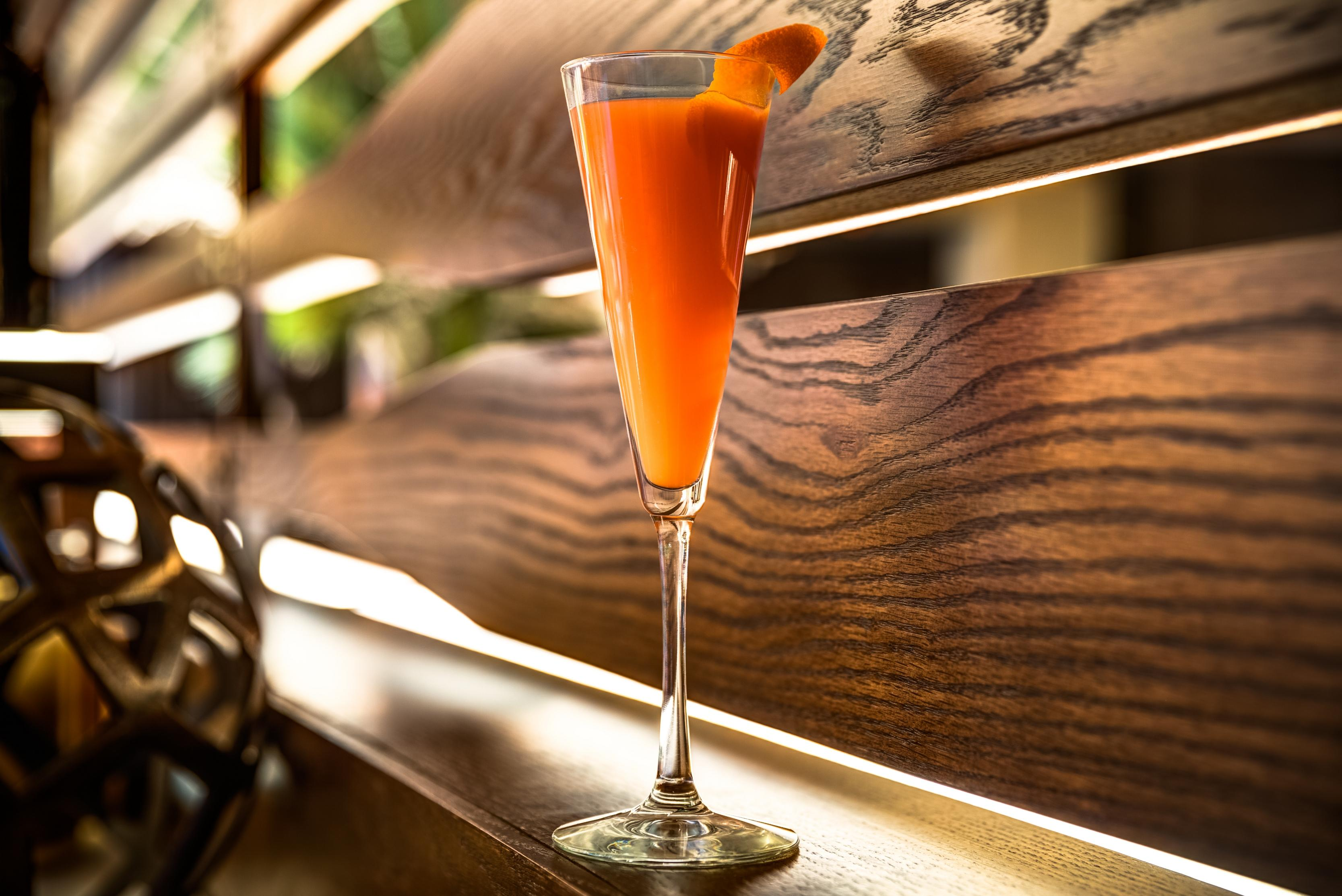 Ocean Prime's Blood Orange Mimosa. (Image courtesy of Ocean Prime)