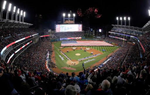 Fireworks are seen over Progressive Field before Game 1 of the Major League Baseball World Series between the Cleveland Indians and the Chicago Cubs Tuesday, Oct. 25, 2016, in Cleveland. (AP Photo/Gene J. Puskar)