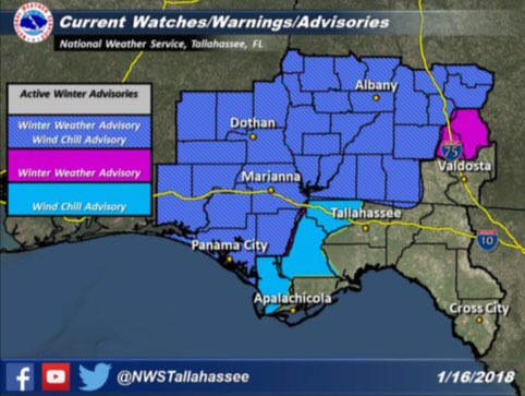 Due to expected winter weather, a Winter Weather Advisory and Wind Chill Advisory has been issued until 1 p.m. Wednesday for the following counties in South Georgia: Randolph, Terrell, Lee, Calhoun, Miller, Dougherty, Decatur, Seminole, Early, Baker, Mitchell, Colquitt, Worth, Turner, Crisp, Tift, Ben Hill and Irwin County. A Winter Weather Advisory has been issued for Berrien County until Wednesday at 1 p.m. as well. / NWS