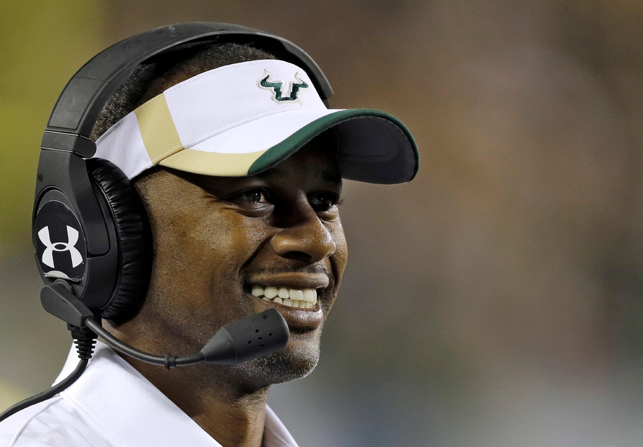 FILE - In this Nov. 20, 2015, file photo, South Florida head coach Willie Taggart looks on during the second half of an NCAA college football game against Cincinnati, in Tampa, Fla. South Florida football coach Willie Taggart has informed the school that he is leaving to become the coach at Oregon, a person with direct knowledge of the situation tells The Associated Press. The person spoke on condition of anonymity because neither school was prepared to make an official announcement. (AP Photo/Chris O'Meara, File)