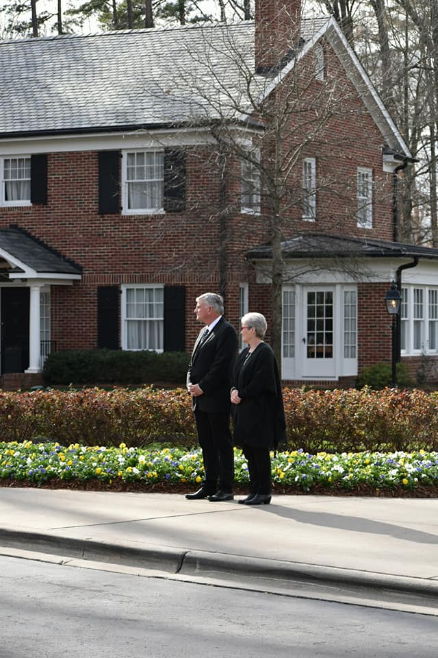 Franklin Graham, son of late Rev. Billy Graham, awaits the arrival of George W. Bush and Laura Bush at Billy Graham Library in Charlotte, North Carolina, on Feb. 26, 2018. (Photo credit: WLOS Staff)