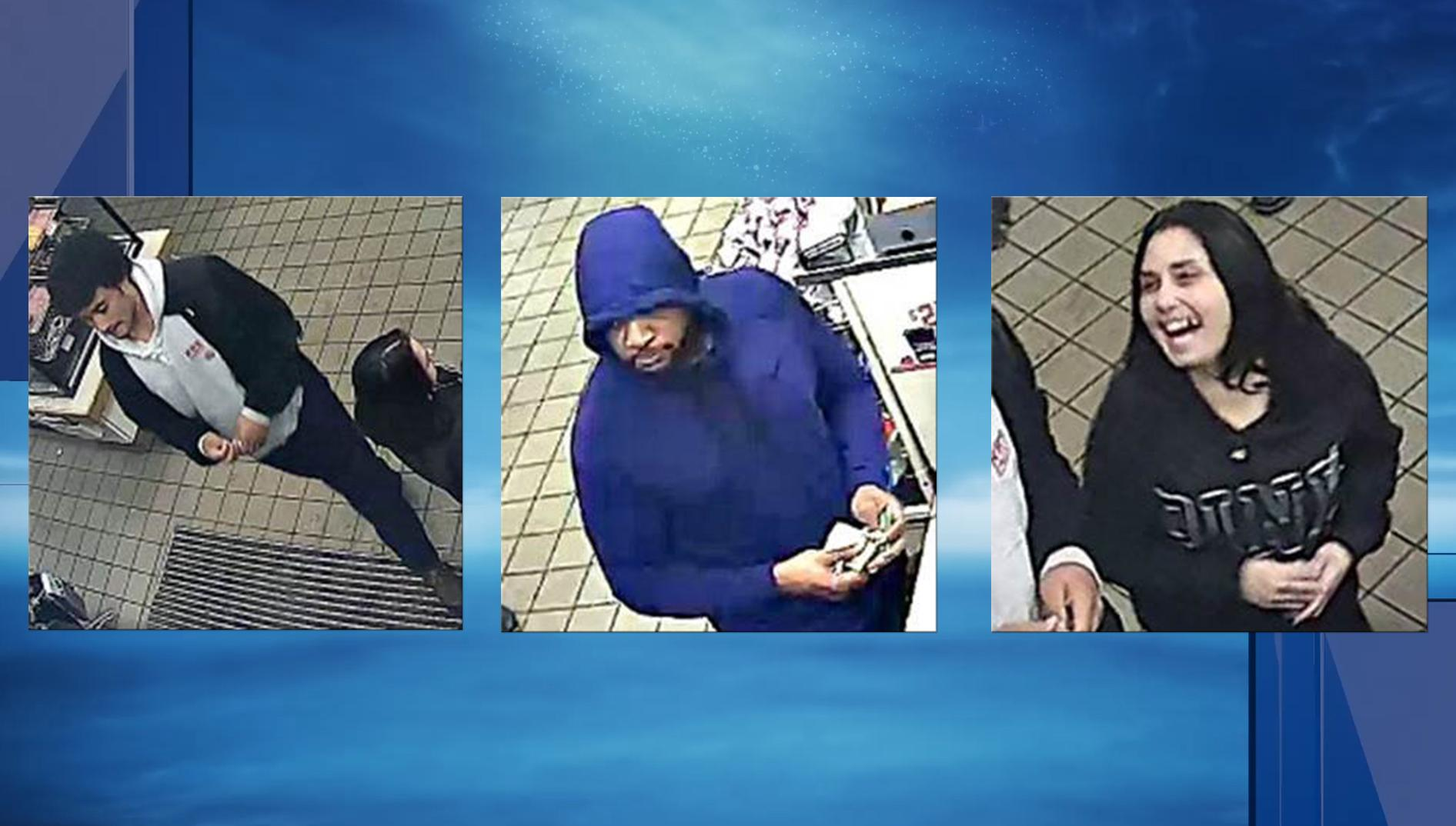 The Smithfield Police Department is asking the public to help them identify three people involved in a counterfeit money scheme. (Police photo)