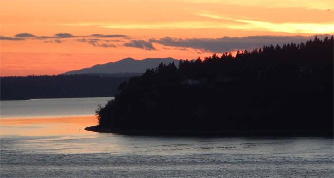 Sunset on the South Sound. South East end of Fox Island.  Photo: Don Gaines