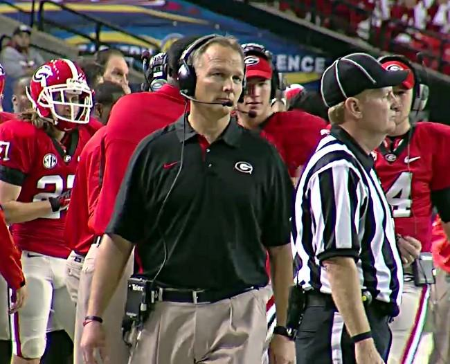 Georiga's Mark Richt on the sideline during the 2012 SEC Championship game in Atlanta on Saturday, December 1, 2012.