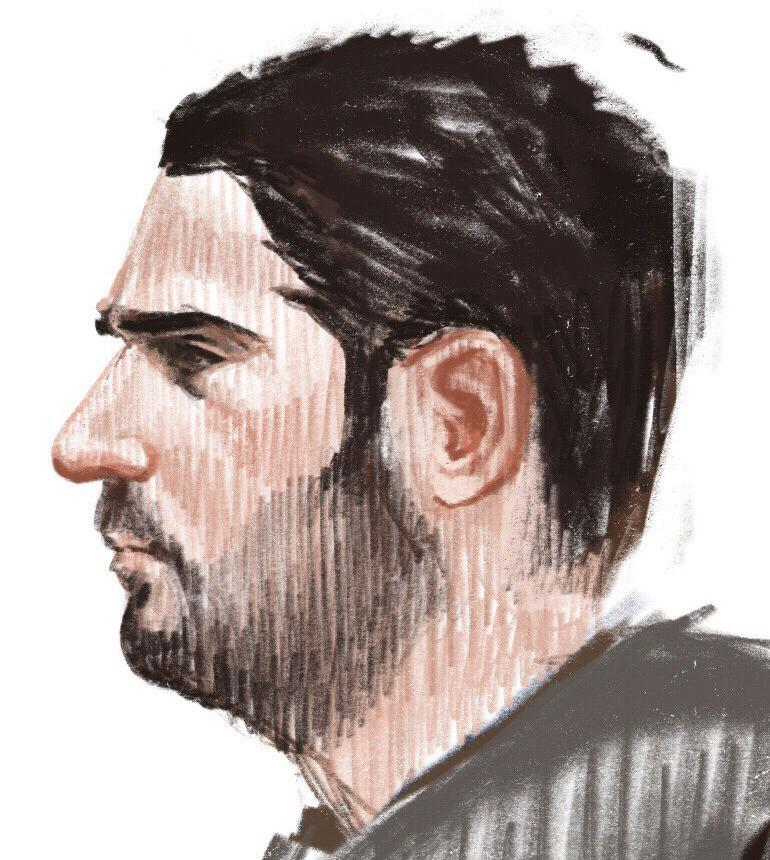 In this courtroom sketch, Soufiane Ayari appears at the Brussels Justice Palace in Brussels on Monday, Feb. 5, 2018. Salah Abdeslam and Soufiane Ayari face trial for taking part in a shooting incident in Vorst, Belgium on March 15, 2016. The incident took place when six members of a Franco-Belgian research team investigating the attacks in Paris were conducting a search in an allegedly empty safe house of the terrorists and were attacked. (Petra Urban via AP)