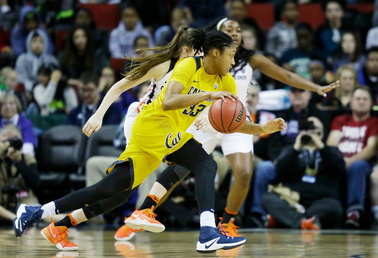 California forward Jaelyn Brown drives against Oregon State in the first half of an NCAA college basketball game in the Pac-12 Conference tournament, Friday, March 3, 2017, in Seattle. (AP Photo/Ted S. Warren)
