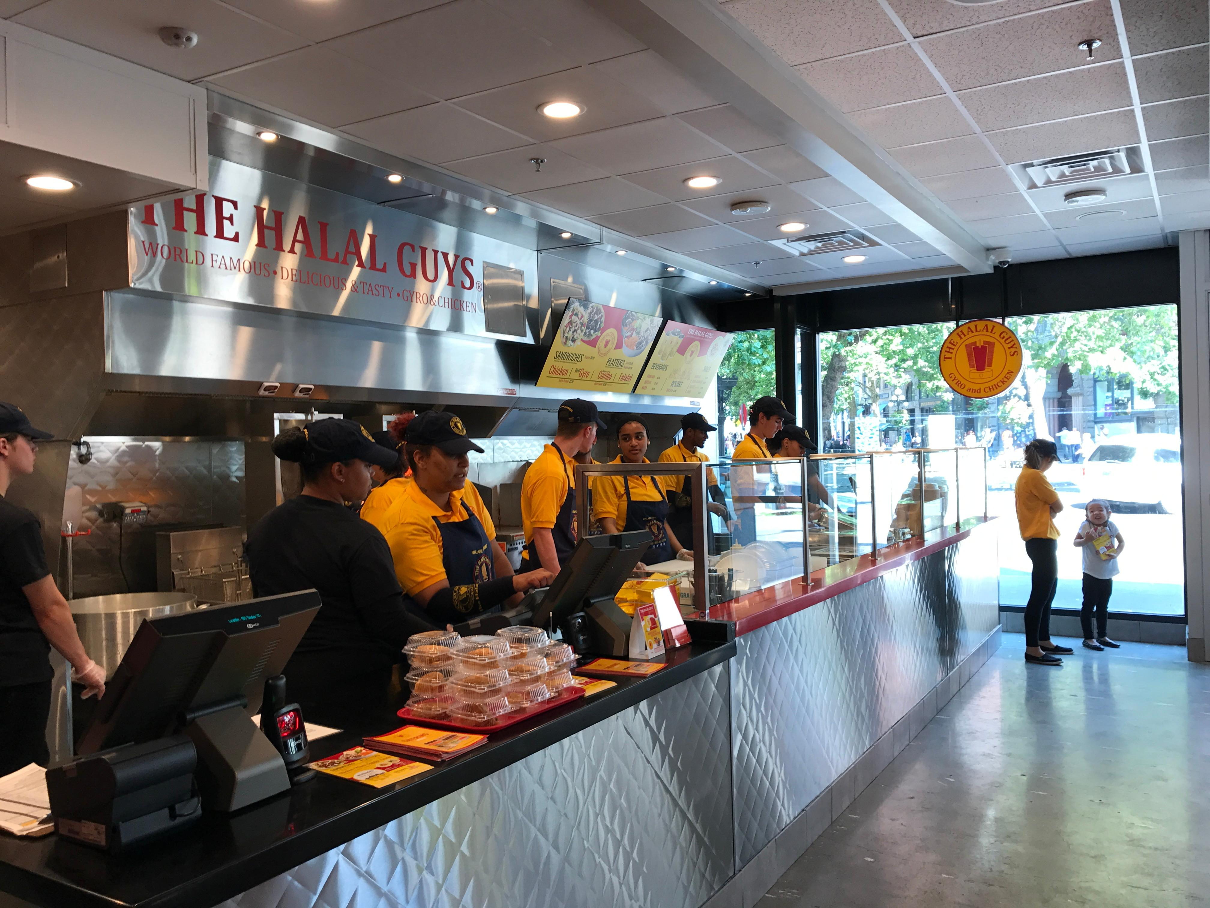 The setup at The Halal Guys' Pioneer Square location. (Image: Frank Guanco)