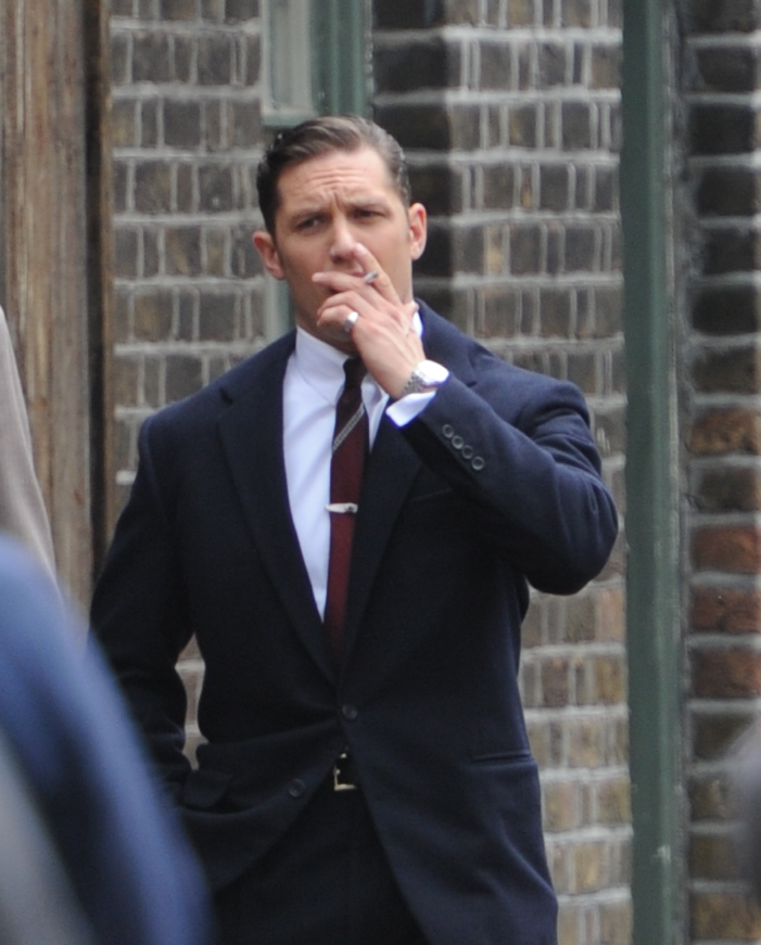Tom Hardy filming on the set of his new movie 'Legend' in London  Featuring: Tom Hardy Where: London, United Kingdom When: 08 Jul 2014 Credit: WENN.com