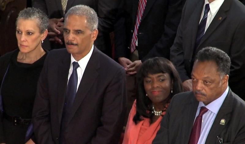 U.S. Attorney General Eric Holder, Rep. Terri Sewell and Rev. Jesse Jackson at 16th Street Baptist Church Sunday, September 15, 2013.