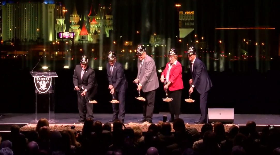 The official groundbreaking at the Raiders stadium site in Las Vegas. (KSNV)