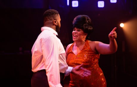 Curtis (DeCarlo Raspberry) and Effie White (Crystal Freeman) in Dreamgirls at Toby's Dinner Theater (Photo by Jeri Tidwell)