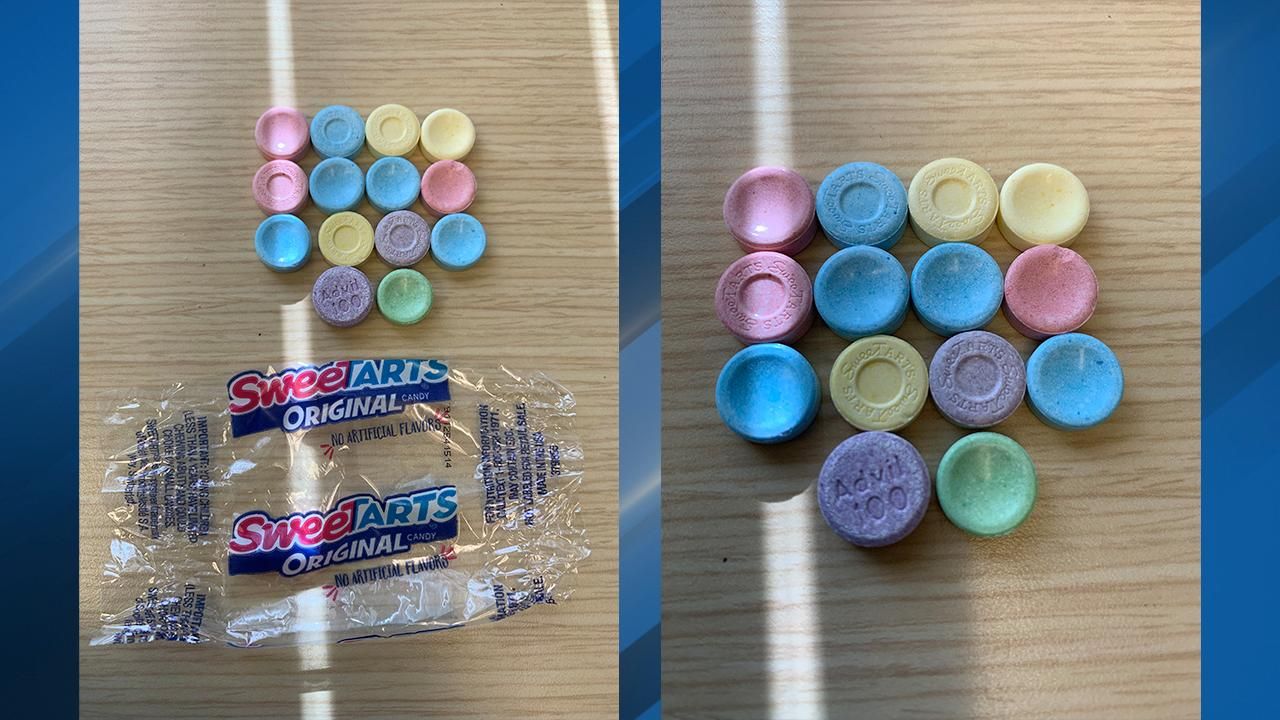 "A mother who lives in North Plains says she found a pill labeled ""Advil"" in a package of SweeTarts in her daughter's Halloween candy. Photo courtesy Washington County Sheriff's Office{ }"