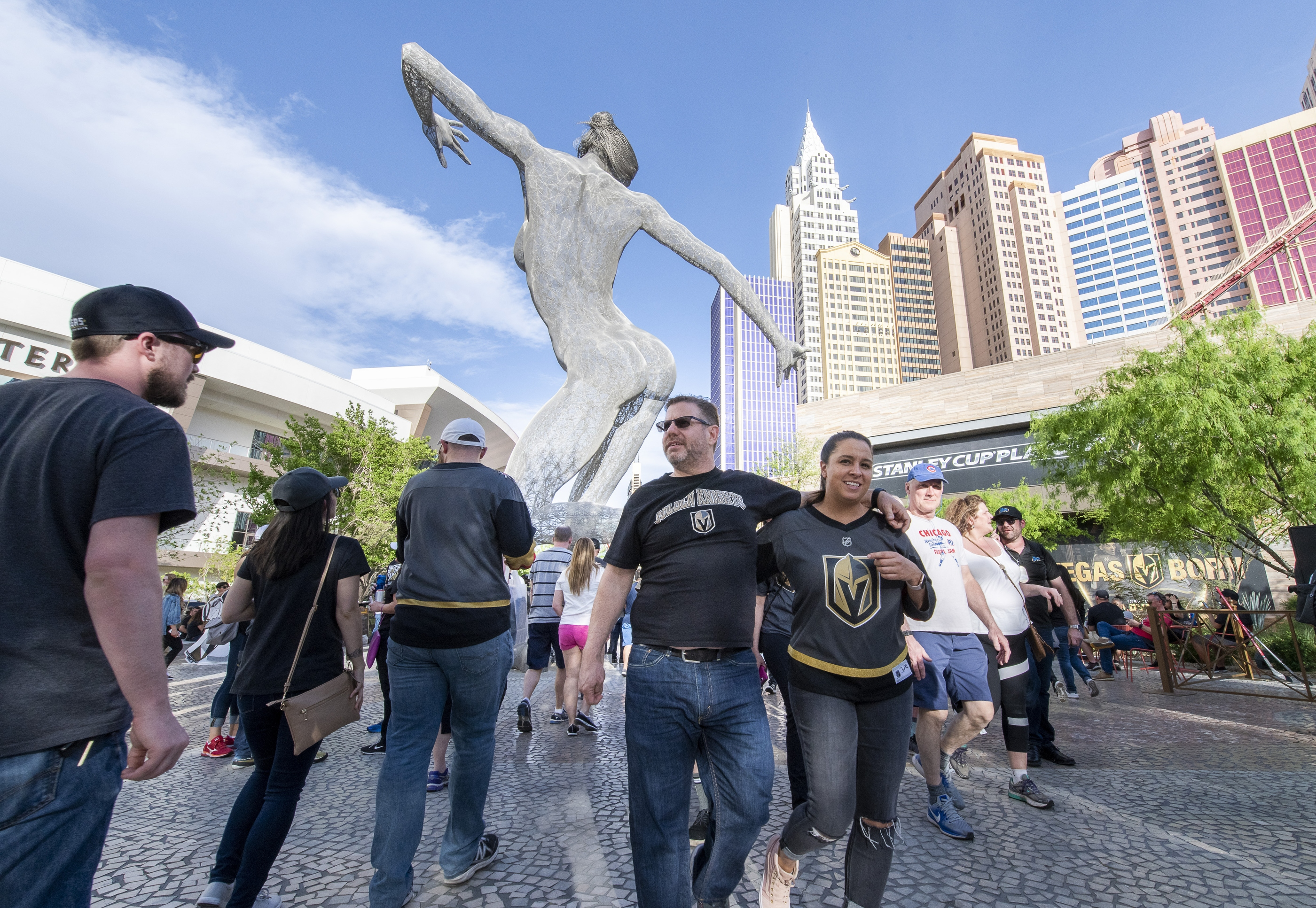 Fans arrive at Toshiba Plaza as the Vegas Golden Knights prepare to meet the Los Angeles Kings in the first quarterfinal game of the NHL Stanley Cup Playoffs at T-Mobile Arena in Las Vegas on Wednesday, April 11, 2018.  CREDIT: Mark Damon/Las Vegas News Bureau