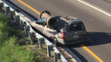 Large metal pipe crushes van, Florida driver survives crash