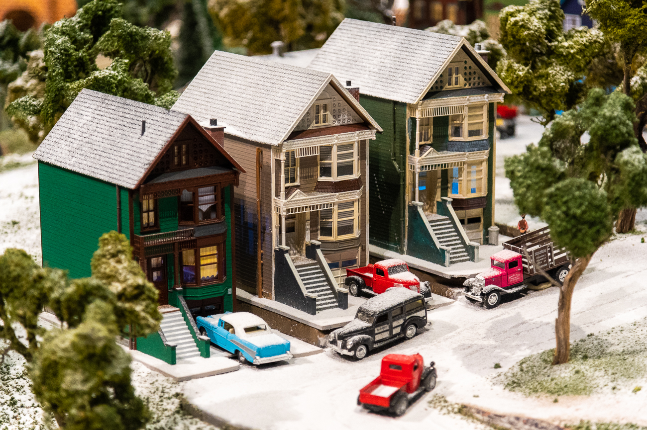 "Fun fact: the trains are authentic ""O"" gauge, which means a quarter inch equals a foot in real life. When the model trains move along tracks, they move at the actual speed they would if they were full sized. / Image: Phil Armstrong, Cincinnati Refined // Published: 11.15.20"