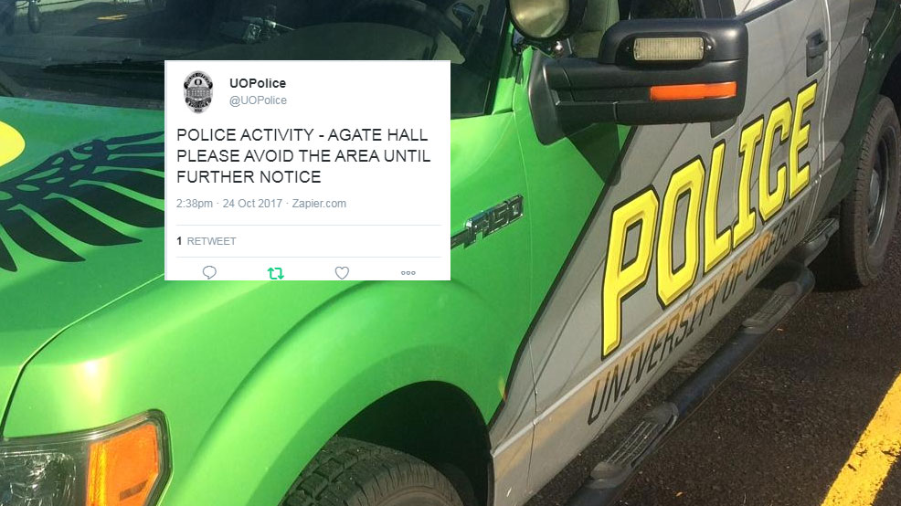 The University of Oregon Police reports police activity on campus and asked the public to avoid the area. (SBG and Twitter)