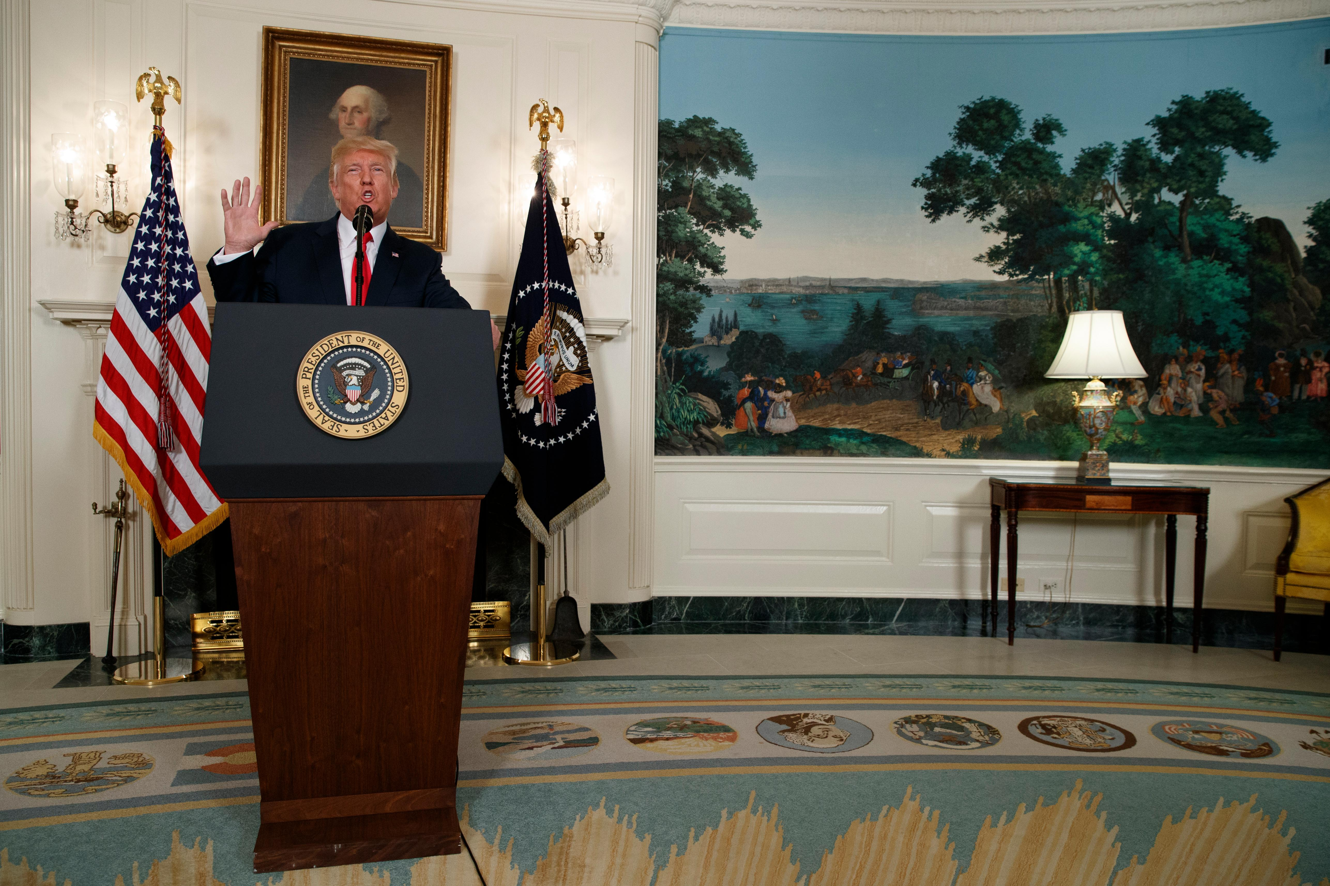 President Donald Trump speaks about the deadly white nationalist rally in Charlottesville, Va., Monday, Aug. 14, 2017, in the Diplomatic Room of the White House in Washington. (AP Photo/Evan Vucci)