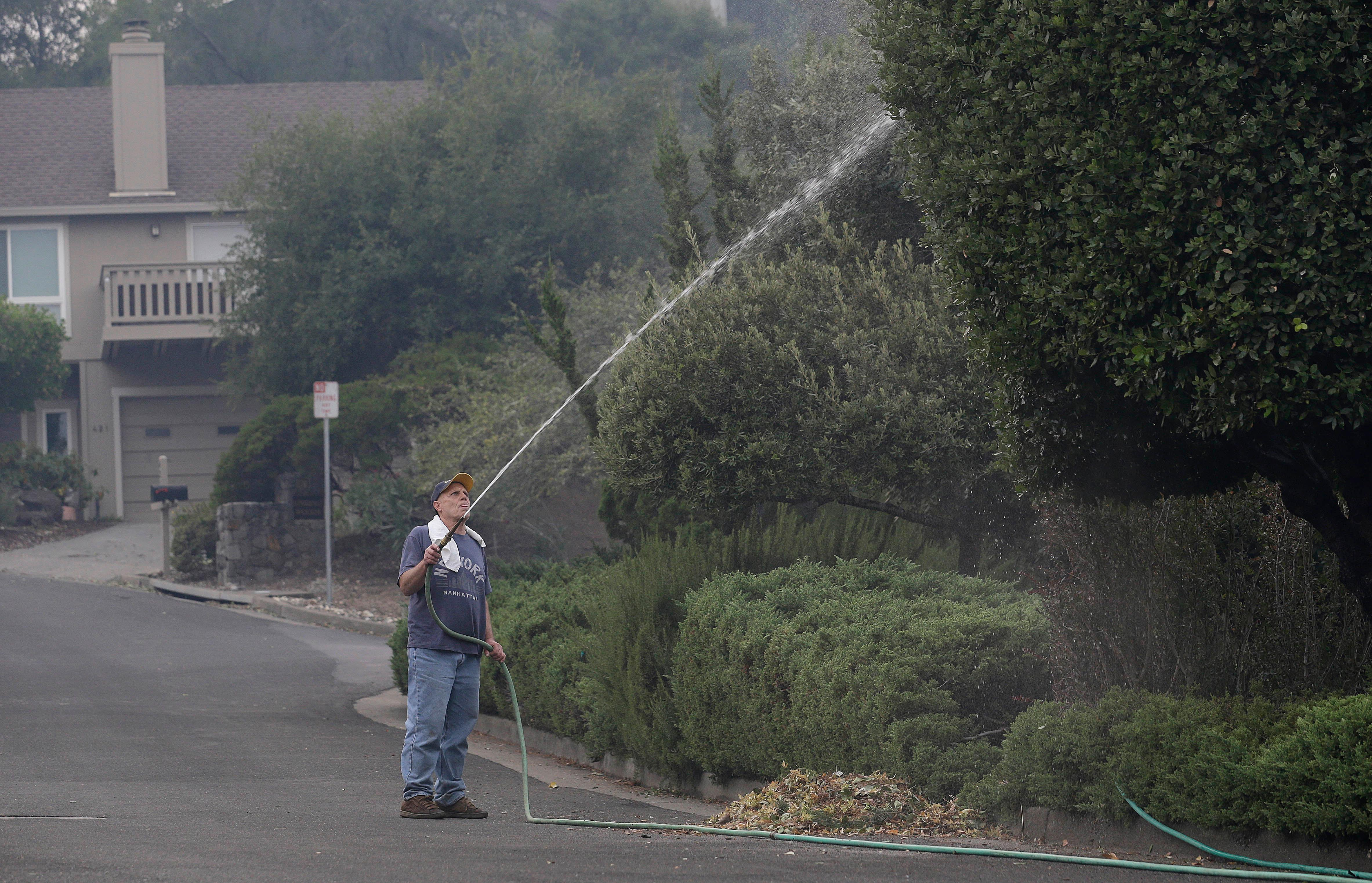 Leonard George sprays down trees in front of his house in the Oakmont area of Santa Rosa, Calif., Tuesday, Oct. 10, 2017. (AP Photo/Jeff Chiu)