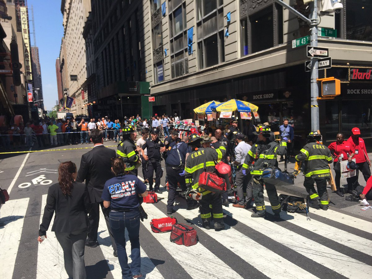 Vehicle speeds onto NYC's Times Square sidewalk, hitting people Thursday, May 18, 2017.  (Courtesy FDNY Twitter)