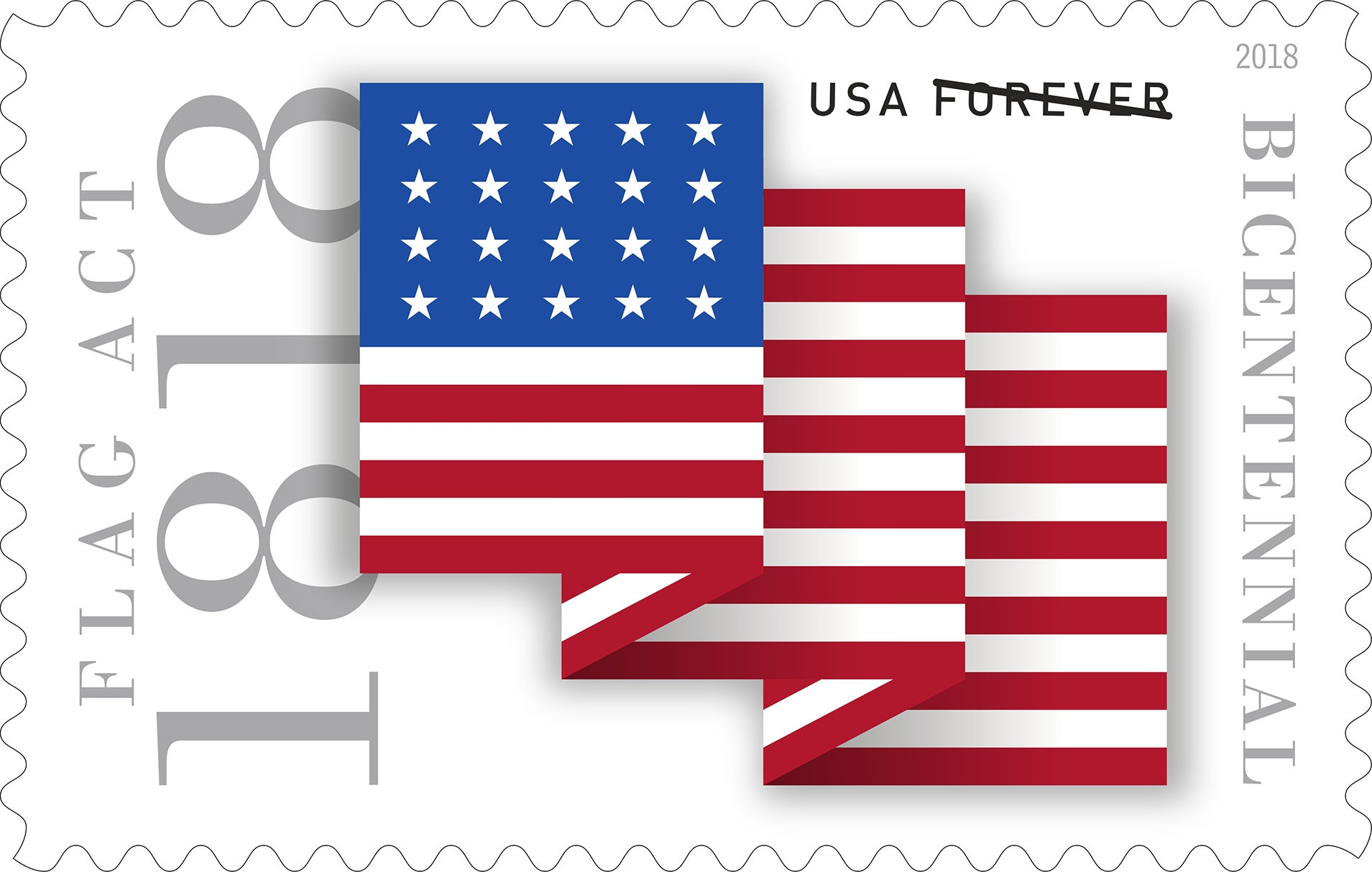 Flag Act of 1818: With this stamp, the Postal Service marks the 200th anniversary of the Flag Act of 1818, which gave us the basic design of the current American flag: 13 stripes symbolizing the original 13 colonies and one star for each state in the union.  (USPS)