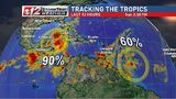 Tracking 2 developing tropical disturbances