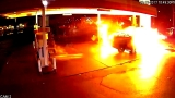Surveillance video shows ball of flames after SUV hits gas pump