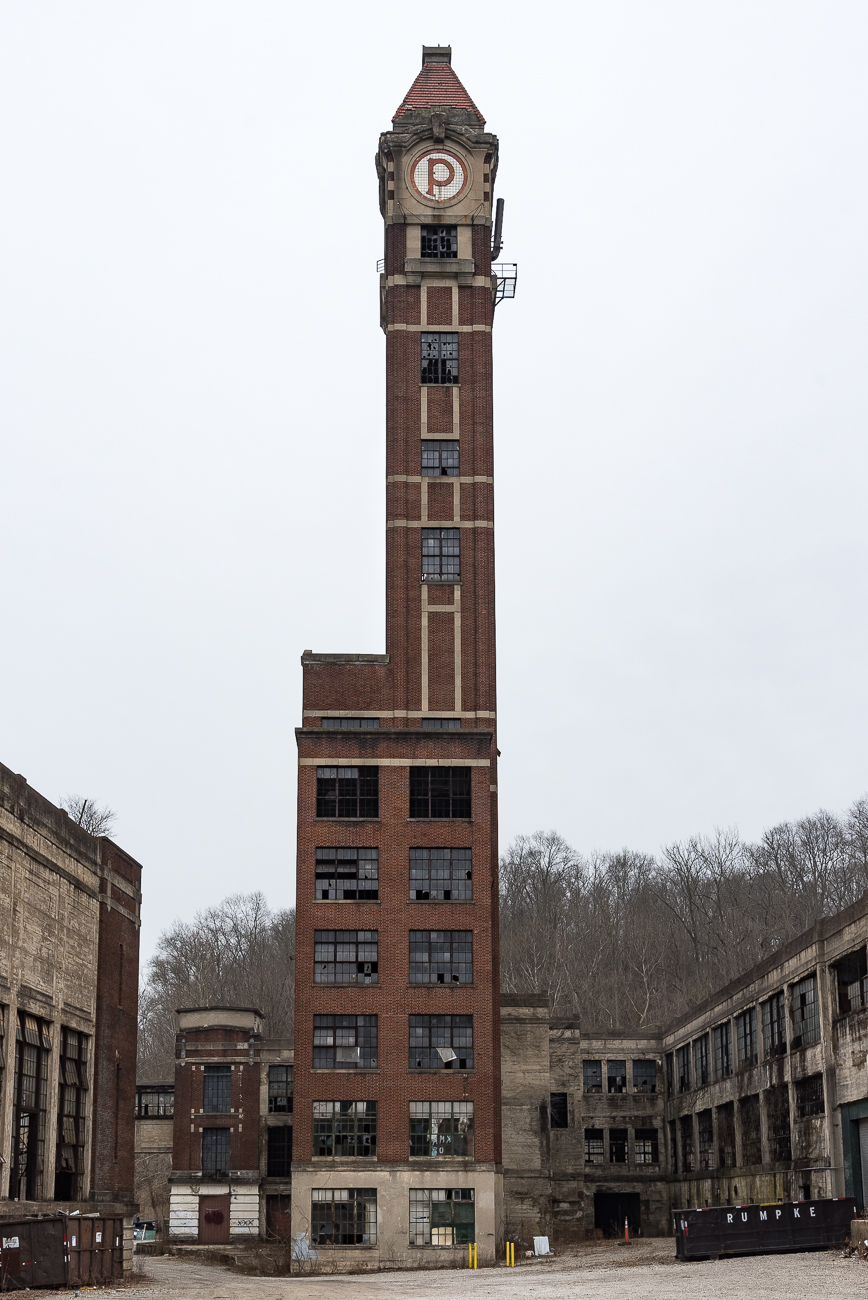 The iconic tower in the middle of the complex will house a coffee shop on the first floor, and a private apartment will occupy the four floors above it. / Image: Phil Armstrong, Cincinnati Refined // Published: 2.28.19