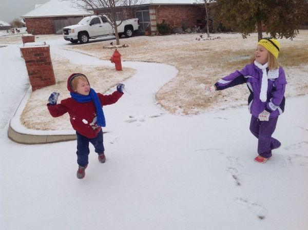 Snow fight in Piedmont.