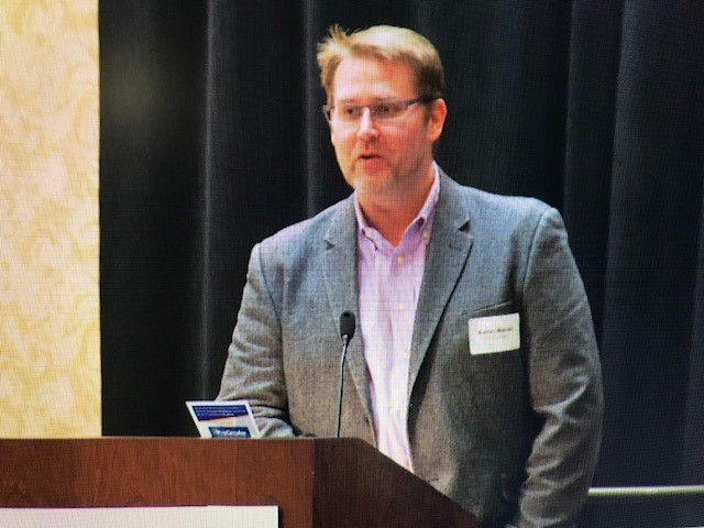 In this image taken from video, ProCircular CEO Aaron Warner, moderates a panel discussion on cyber security at a Cedar Rapids event sponsored by the Corridor Business Journal.{&amp;nbsp;}<p></p>