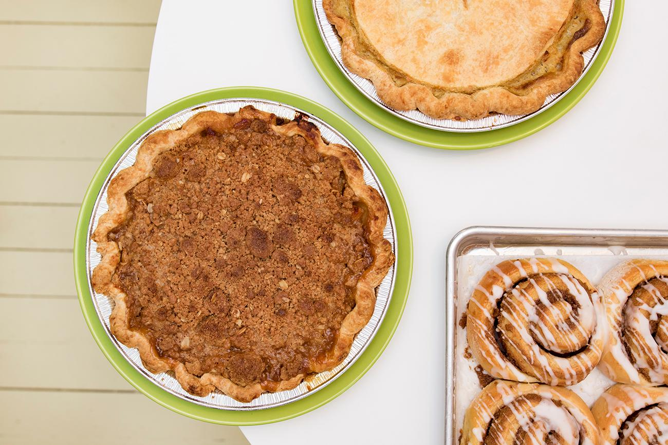 Chicken pot pie, apple brown sugar pie, and cinnamon cardamom rolls{ }/ Image: Allison McAdams // Published: 2.7.19