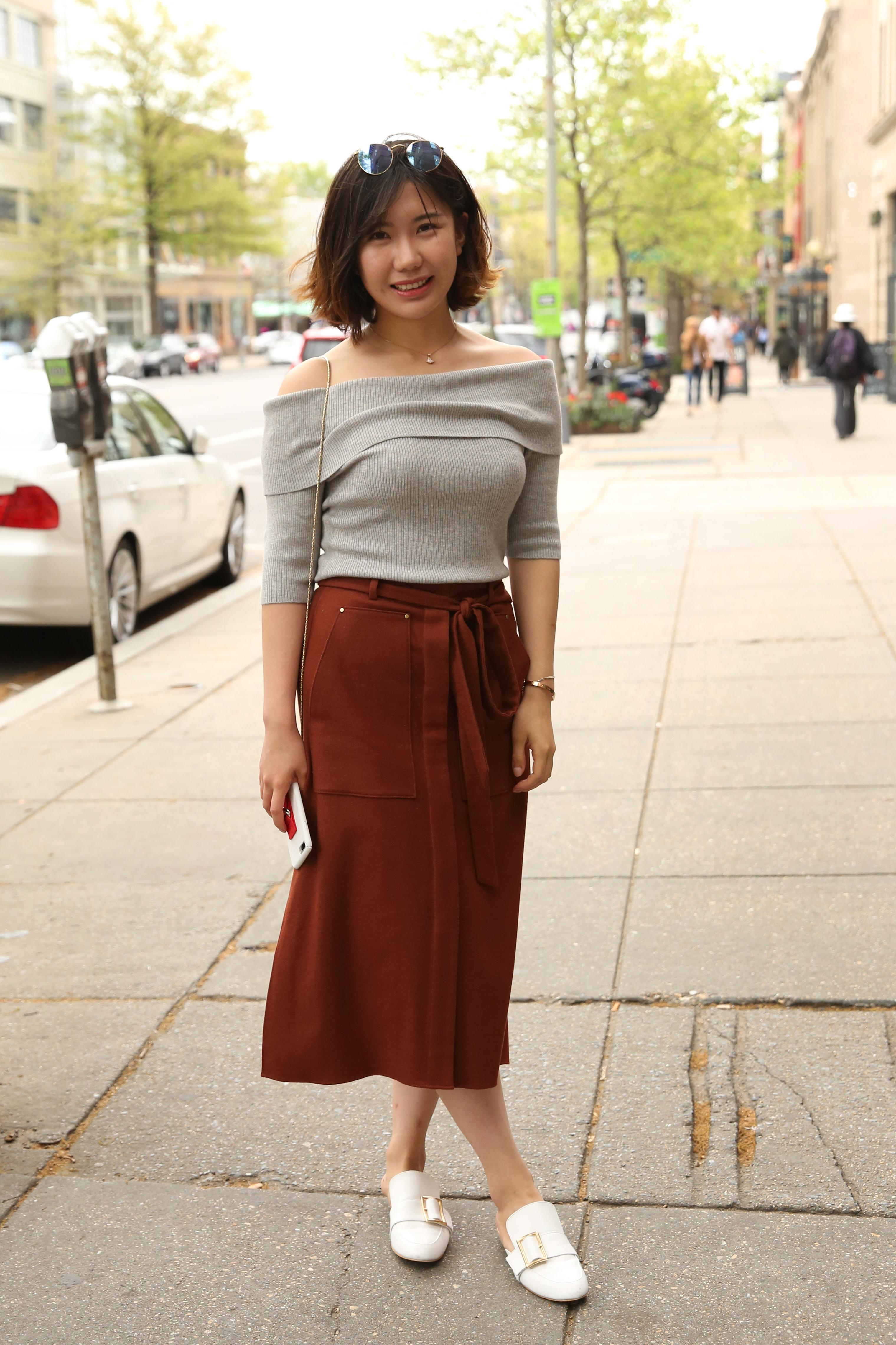 Vivien Wang's midi-skirt and off-the-shoulder top are a winning combo.  (Amanda Andrade-Rhoades/DC Refined)