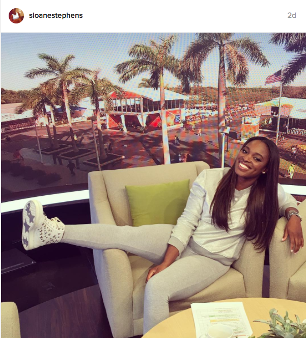 "Stephens captions: ""when you get a promotion to 2nd chair and you don't know how to act @tennischannel"""