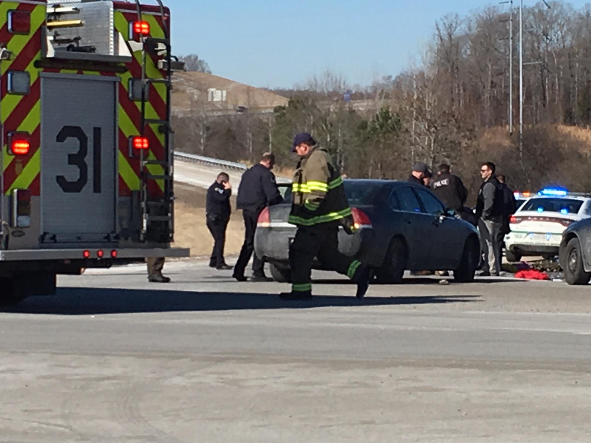 A pursuit of armed robbery suspects in Nashville ended with a crash in Williamson County on Thursday. PHOTO: WZTV FOX 17 News Nashville<p></p>